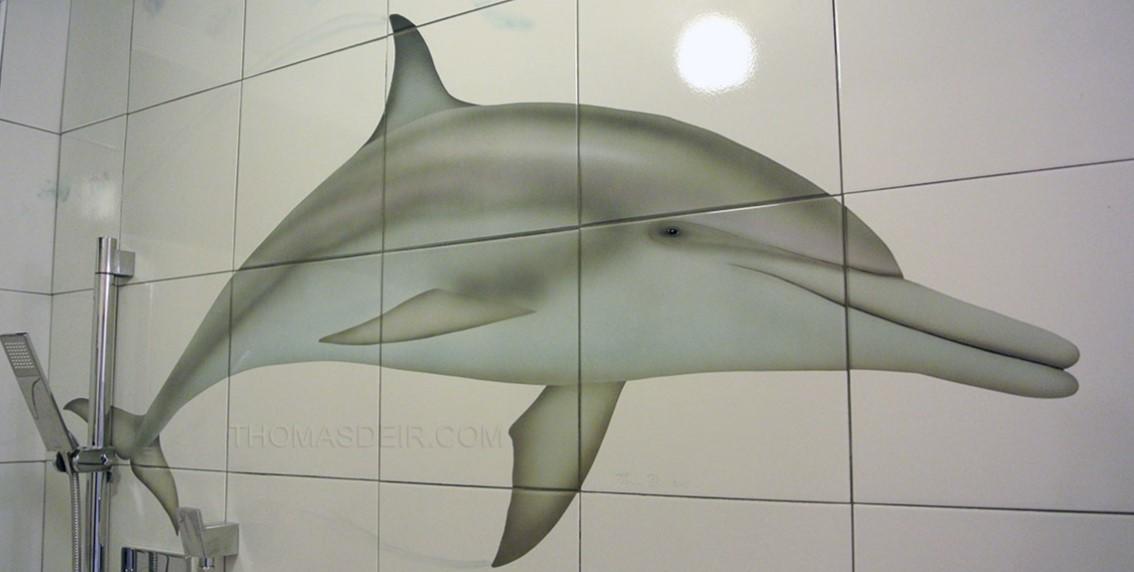 Bathroom Renovation Tile Mural Dolphin