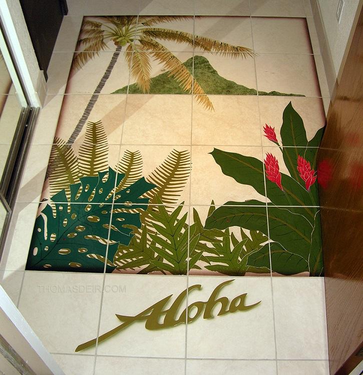 aloha entry floor tile mural