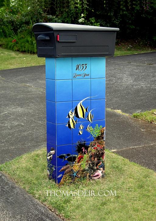Aquarium Mailbox Tile Mural