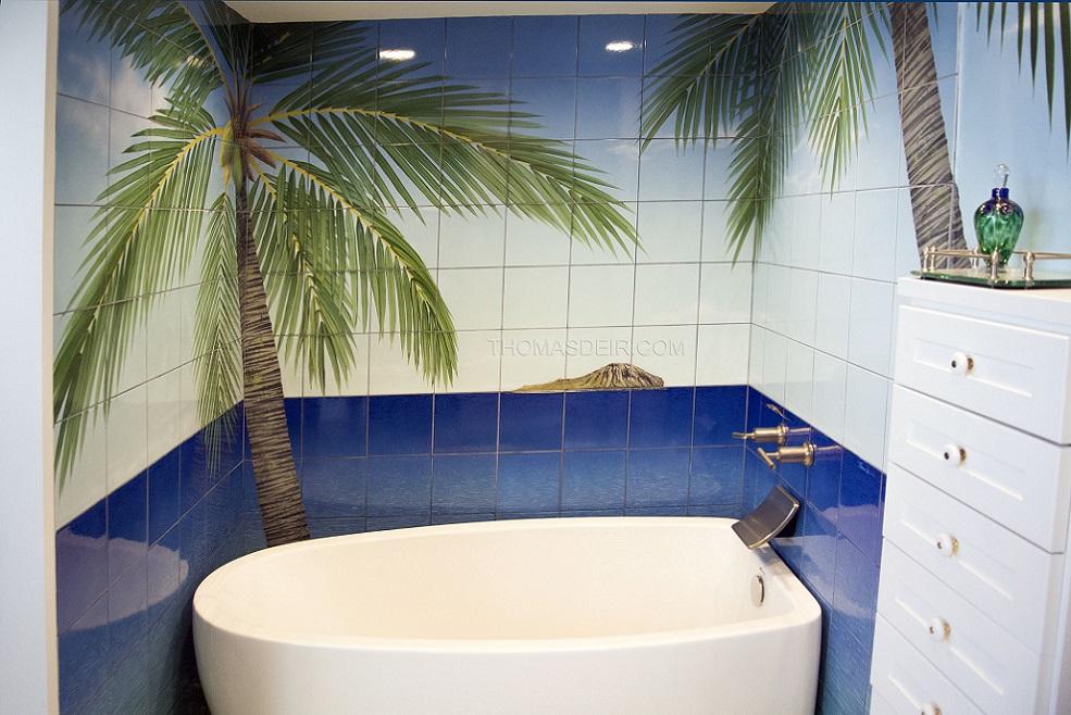 Bathroom tile murals tropical beach thomas deir honolulu for Bathroom tile mural