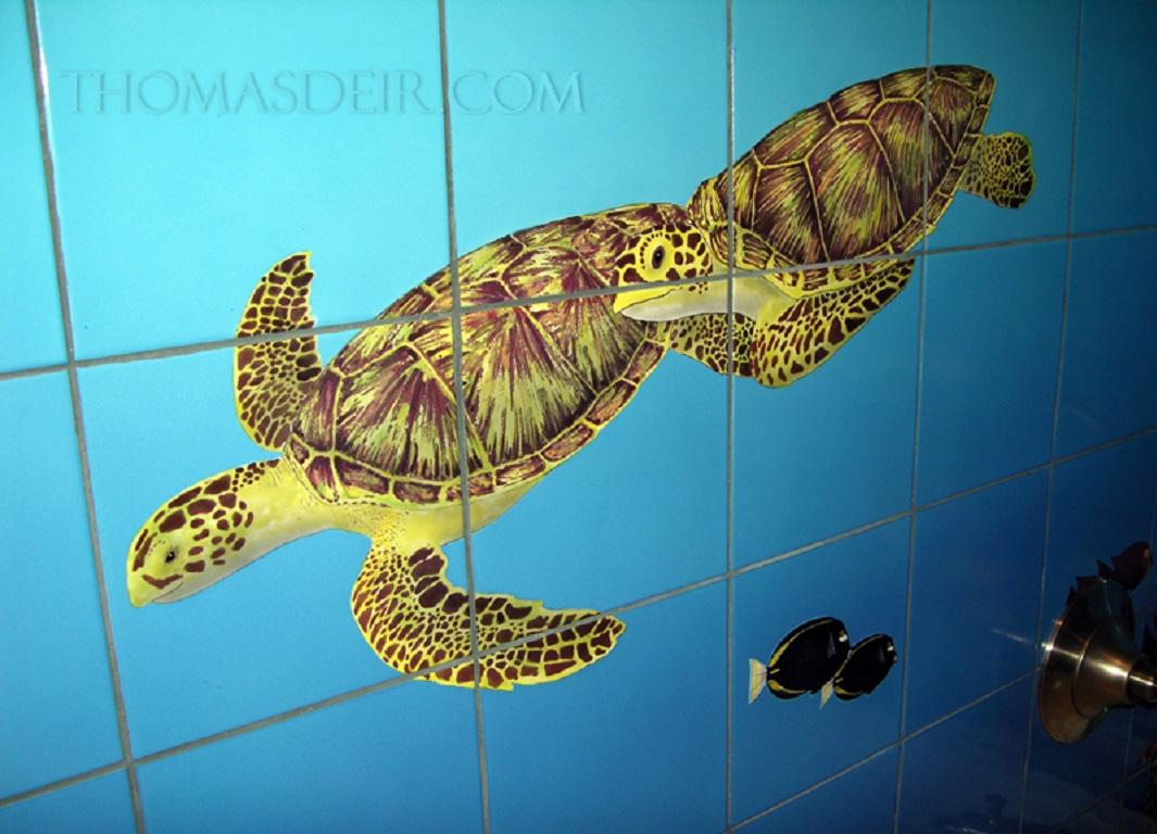 Bathroom Tile Mural Designs Hawaii Sea Turtle