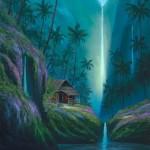 Enchanted Tropical Waterfall Hawaii Painting