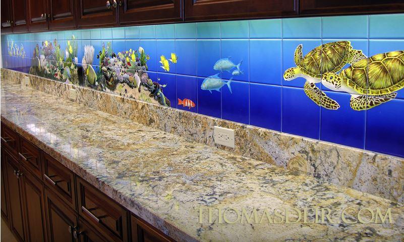Hawaii Kitchen Remodel Tropical Fish Tile Mural
