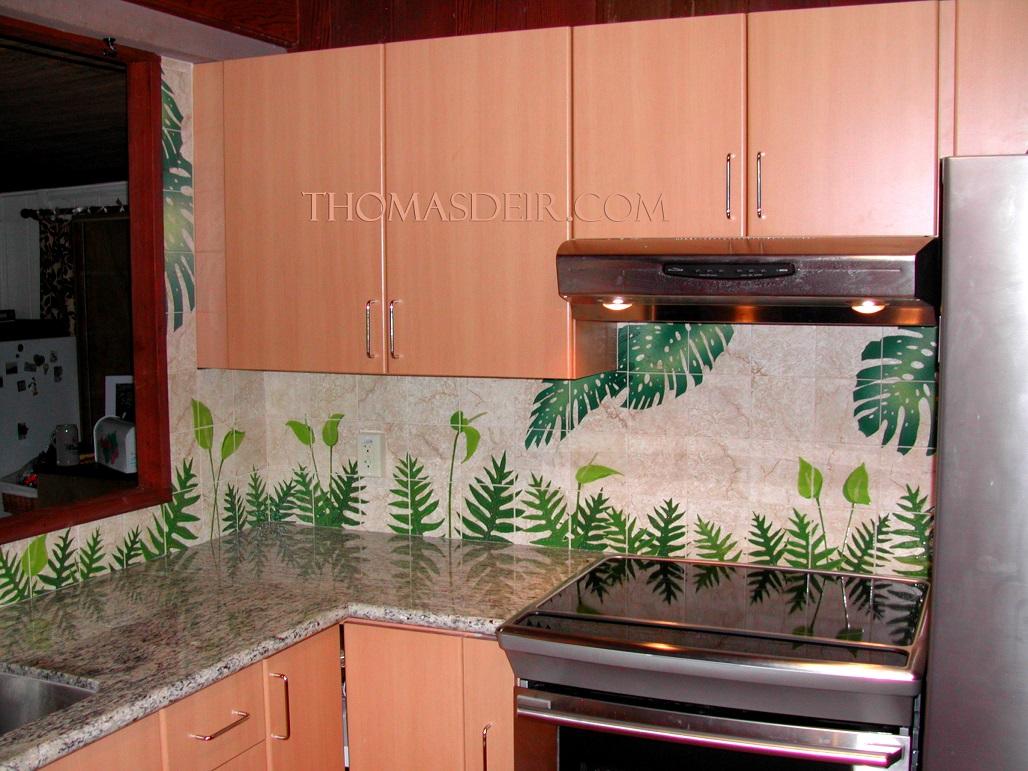 Hawaii Lawai Ferns Flowers Kitchen Backsplash