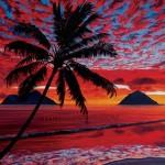 Hawaii Beach Sunset Painting Mokulua Fireclouds