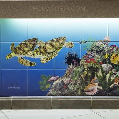 Tile Mural Tropical Fish Painting Sea Turtles Detail