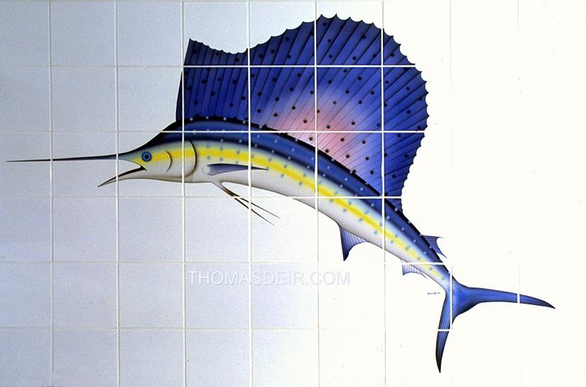 tropical sailfish painting tile mural