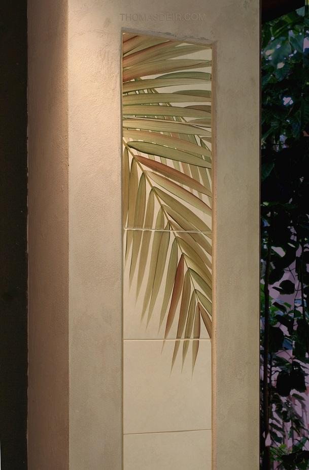 tropical tile mural column