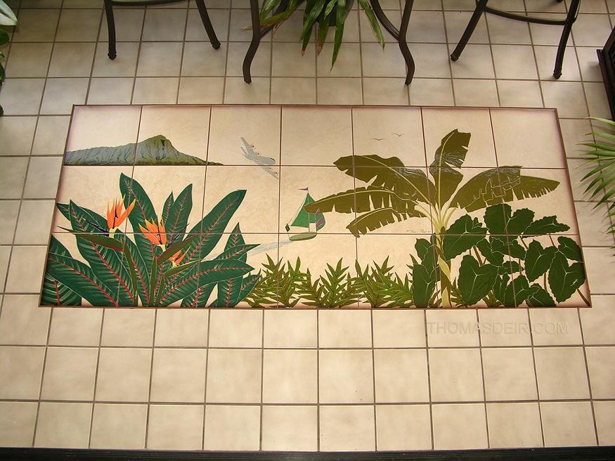 tropical floor tile mural