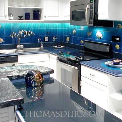kitchen tile mural backsplash aquarium