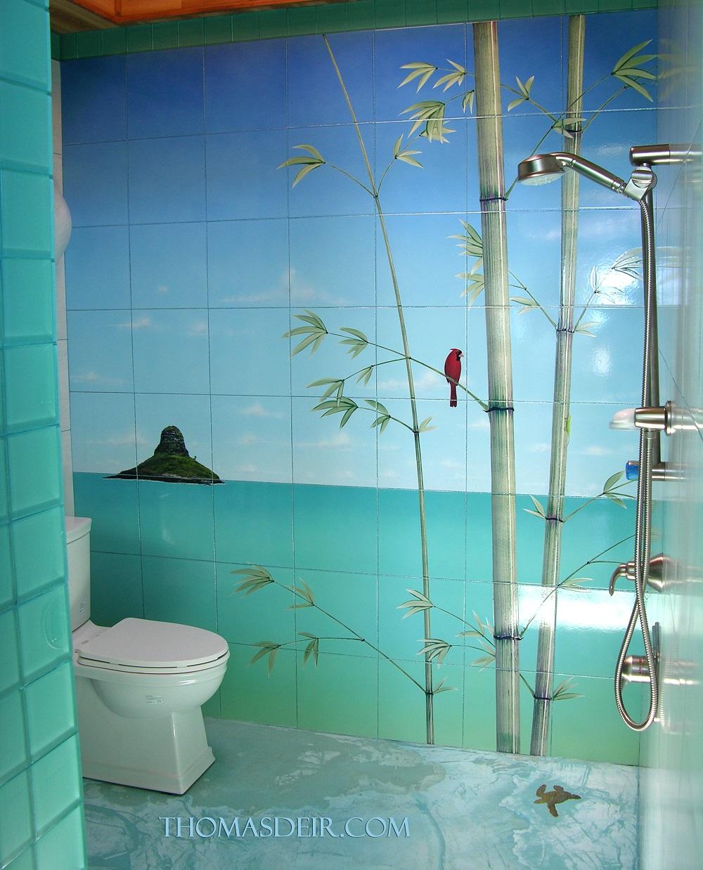Bamboo Beach Shower Tile Mural