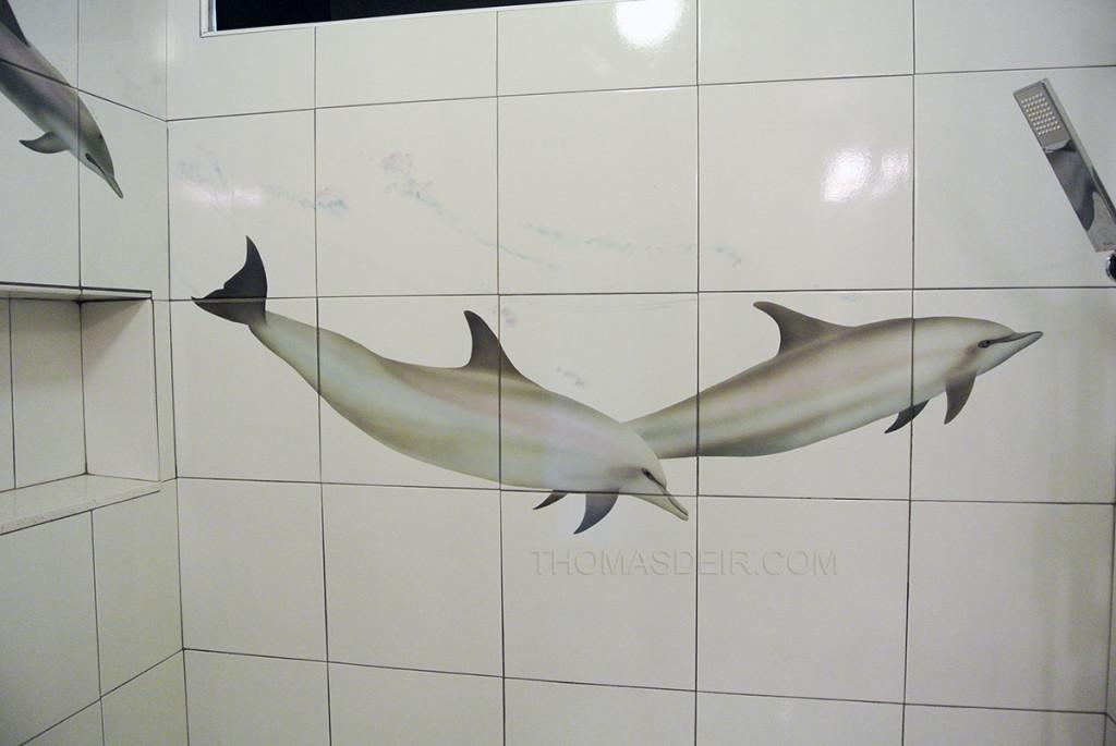 Bathroom tile mural dolphin painting