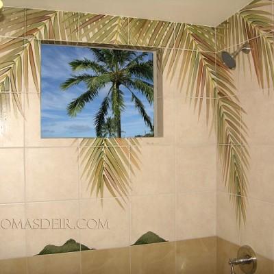 Coconut Tree Shower Mural 1