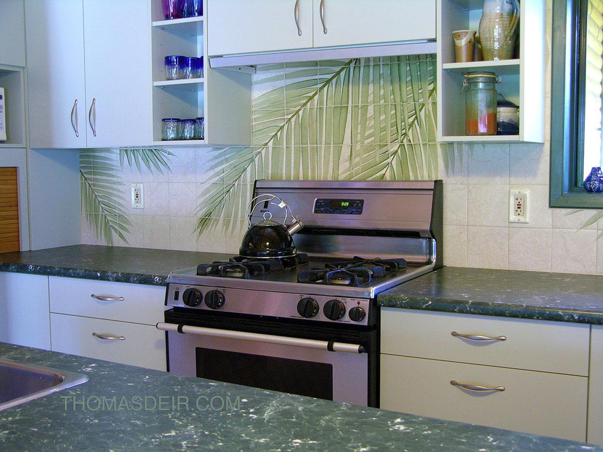 Kitchen Backsplash Hawaiian Palm Fronds