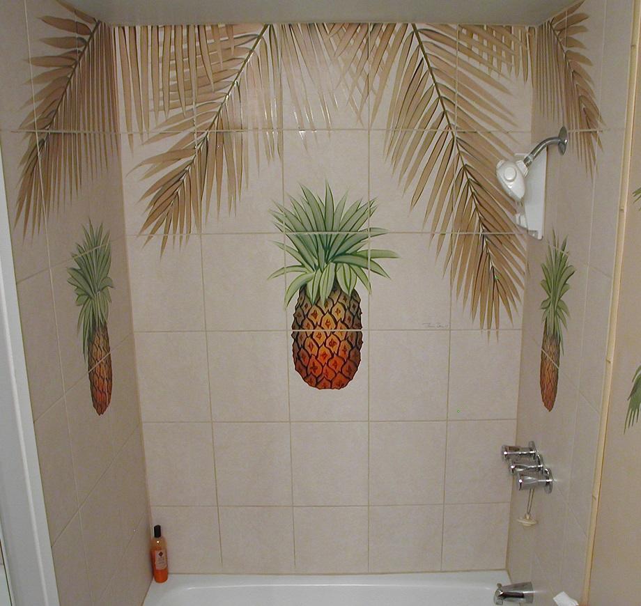 Hawaii Pineapple Shower Tile Mural