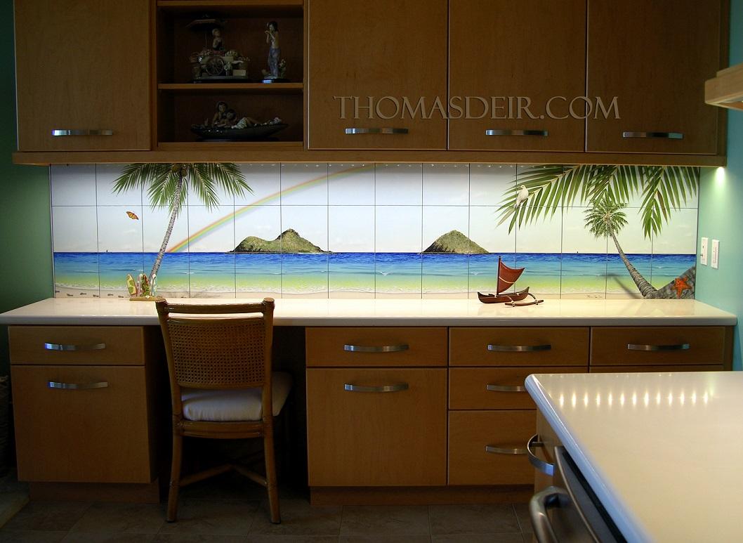 Makapuu to Mokuluas Tropical Beach Kitchen Tile Art
