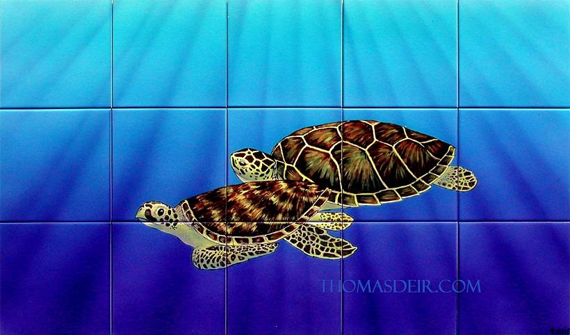 Turtle Pair Tile Mural-0
