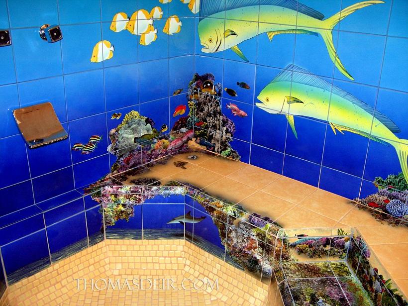 Sea life painting detail of undersea reef scene in shower spa