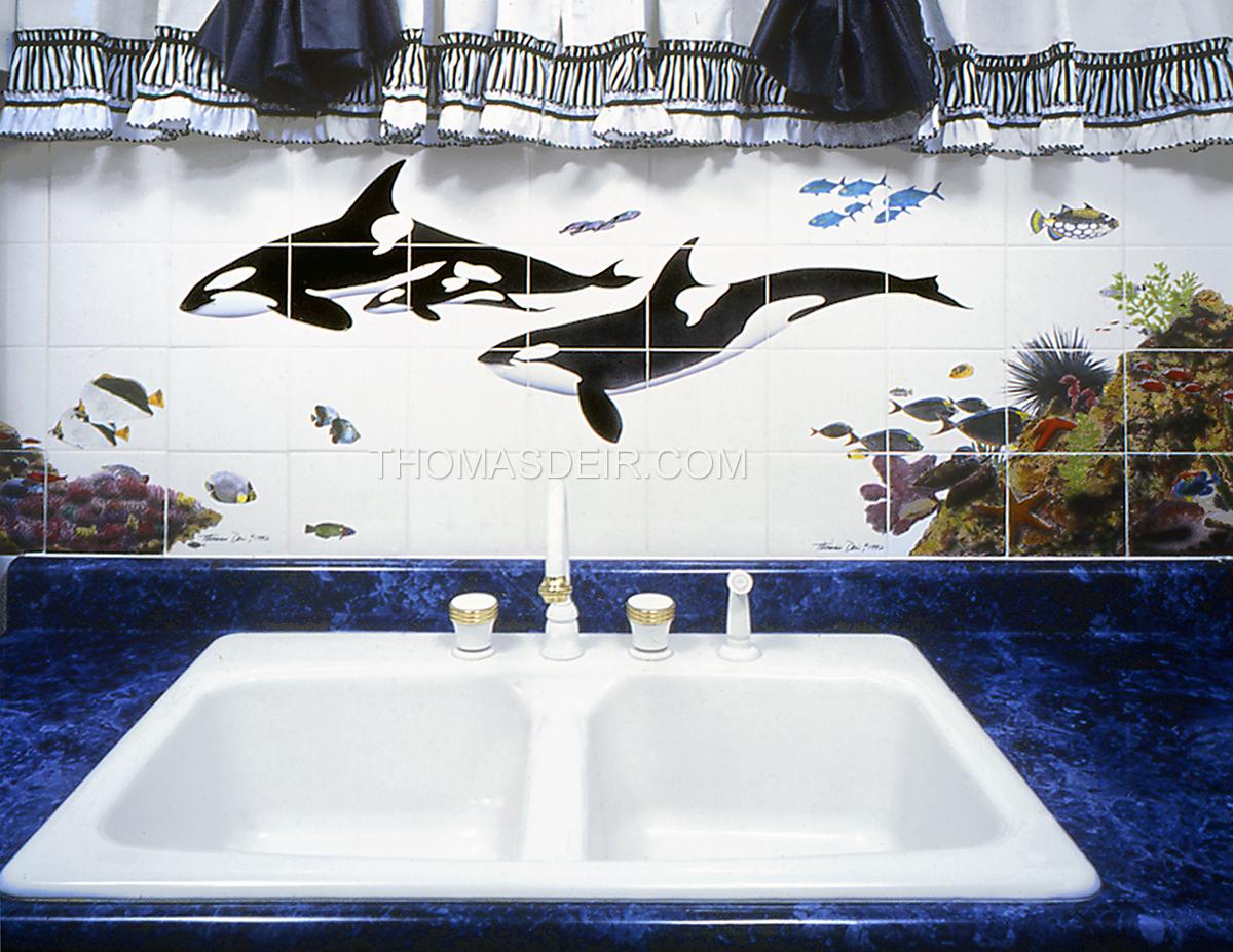 Whale Kitchen Reef Scene Tile Backsplash