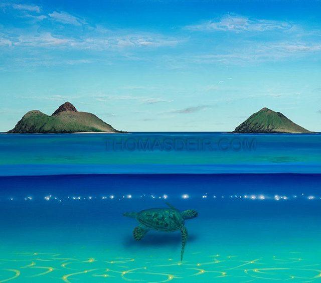 Lanikai Beach with turtle painting