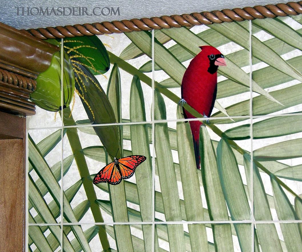 Butterfly Cardinal Bird wall tile mural detail