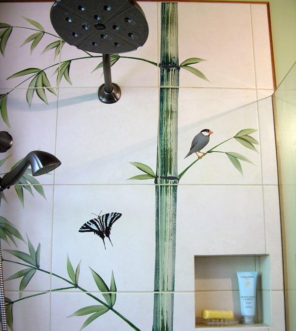 Indonesian Bamboo Shower Tropical Bird Butterfly
