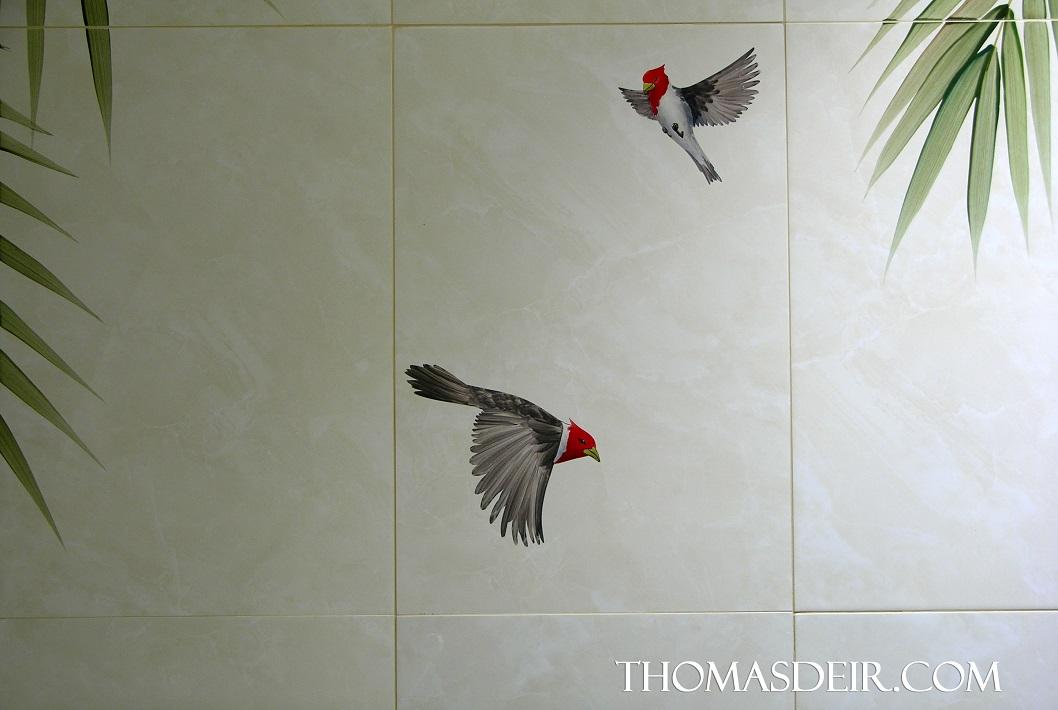 bathroom tile mural detail Cardinal Birds