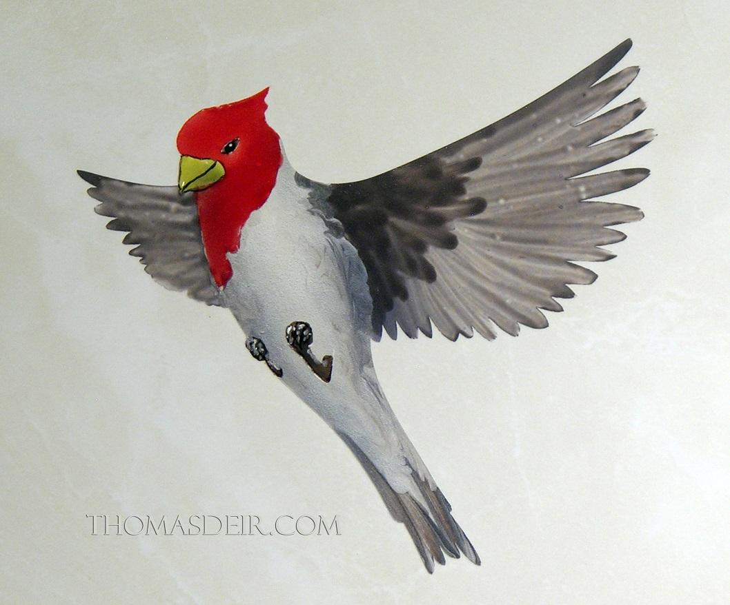Red crested cardinal bird tile mural