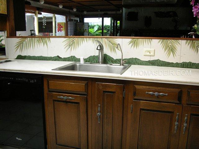 Hawaii kitchen backsplash tile mural palm fronds 4