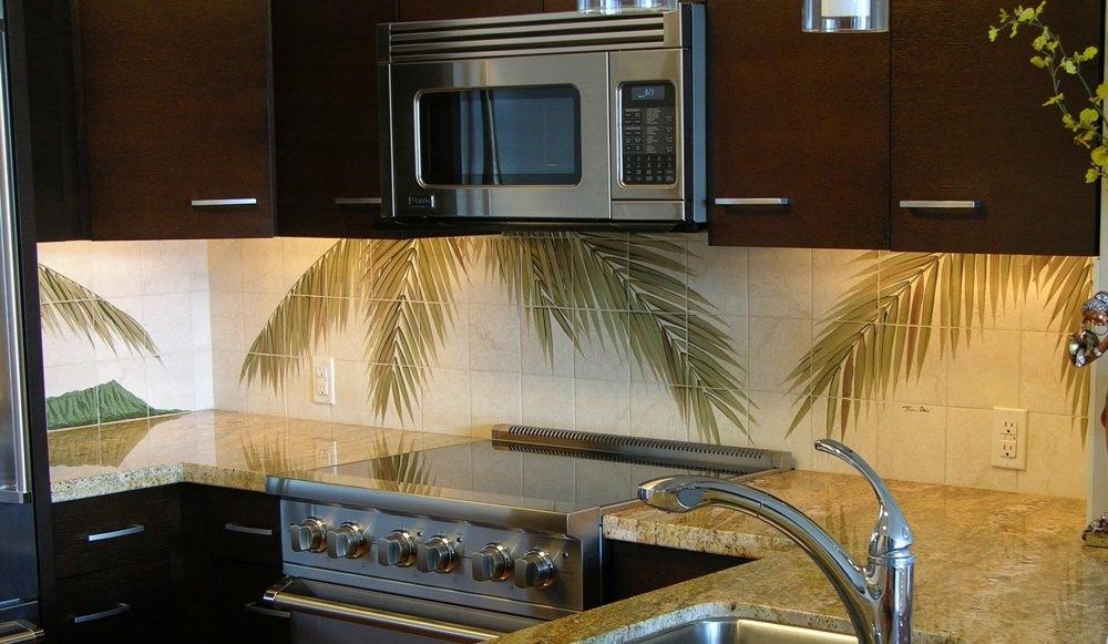 Hawaii kitchen backsplash tile mural palm fronds 5