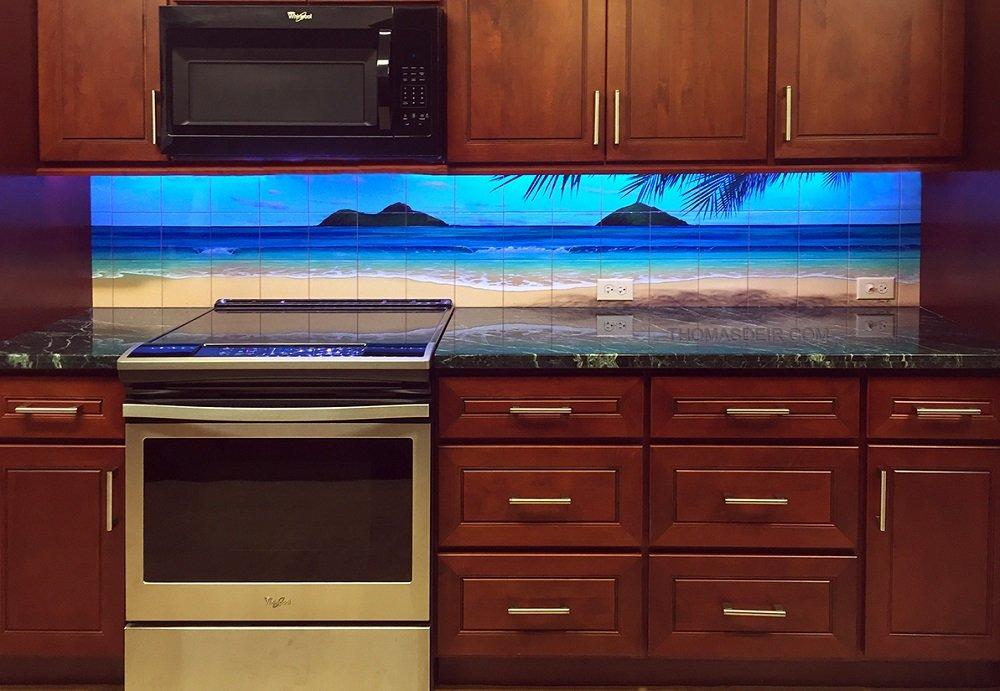 Hawaii kitchen backsplash tile mural