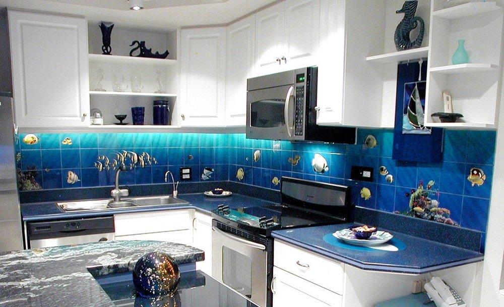 Hawaii kitchen backsplash tile mural tropical fish
