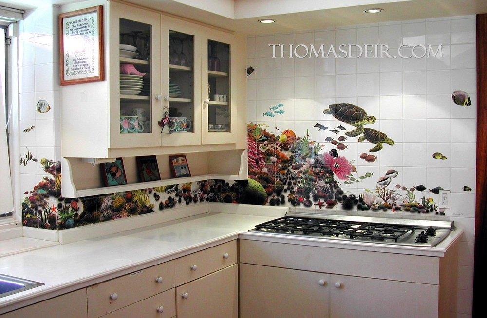 Hawaii kitchen backsplash tile mural reef fish