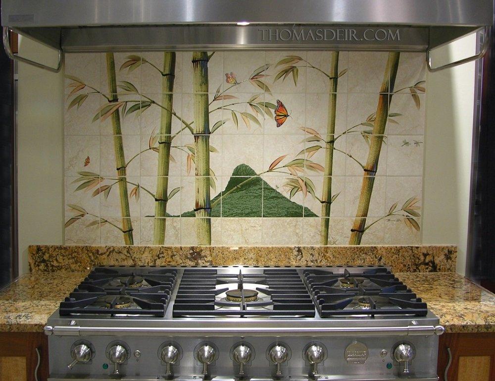 Hawaii kitchen backsplash tile mural bamboo