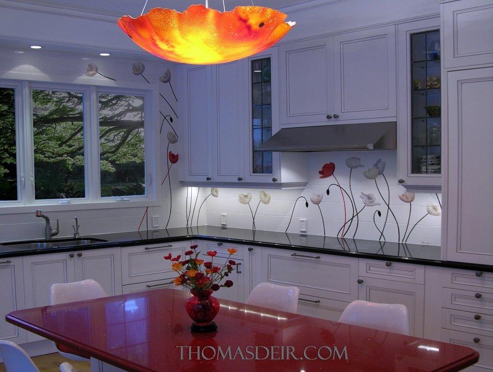 Hawaii kitchen backsplash tile mural poppies