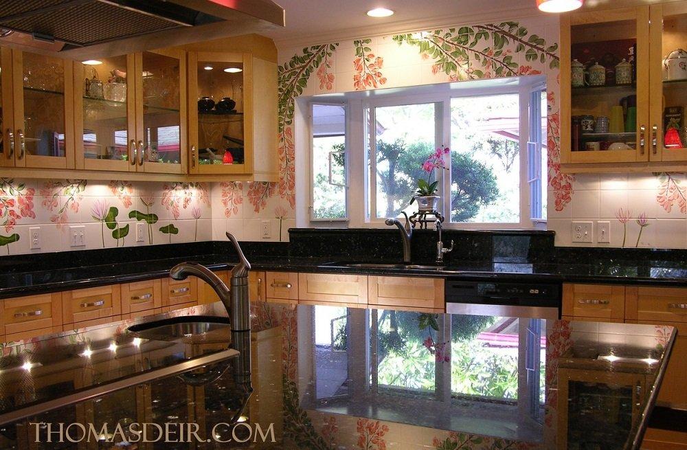Hawaii kitchen backsplash tile mural bougainvillea