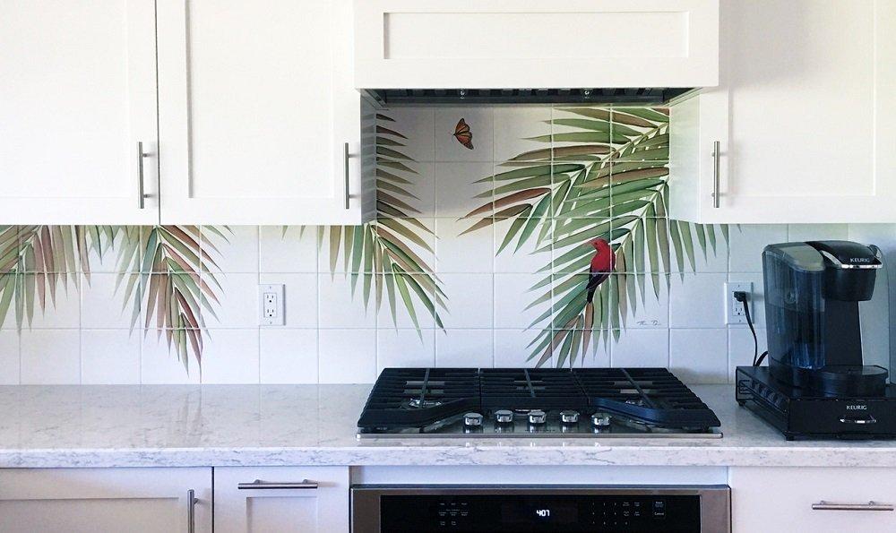 Hawaii kitchen backsplash tile mural palm fronds