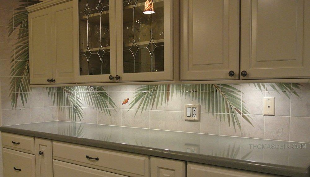 Hawaii kitchen backsplash tile mural palm fronds 2