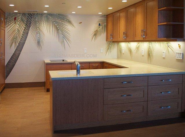 Hawaii kitchen backsplash tile mural palm tree
